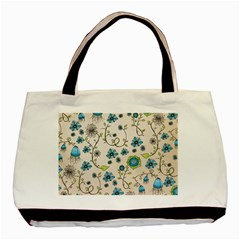 Whimsical Flowers Blue Twin Sided Black Tote Bag by Zandiepants