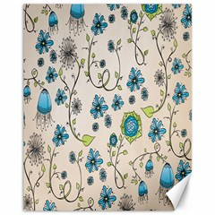 Whimsical Flowers Blue Canvas 11  X 14  (unframed) by Zandiepants