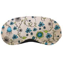 Whimsical Flowers Blue Sleeping Mask by Zandiepants
