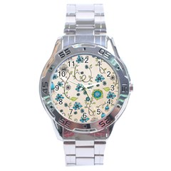 Whimsical Flowers Blue Stainless Steel Watch by Zandiepants