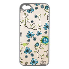 Whimsical Flowers Blue Apple Iphone 5 Case (silver) by Zandiepants
