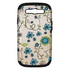 Whimsical Flowers Blue Samsung Galaxy S Iii Hardshell Case (pc+silicone) by Zandiepants