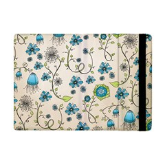 Whimsical Flowers Blue Apple Ipad Mini Flip Case by Zandiepants