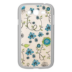 Whimsical Flowers Blue Samsung Galaxy Grand Duos I9082 Case (white) by Zandiepants