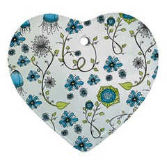 Blue Whimsical Flowers  On Blue Heart Ornament by Zandiepants