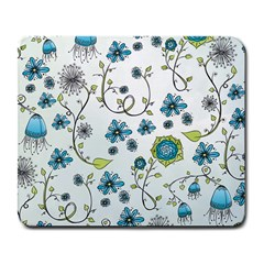 Blue Whimsical Flowers  On Blue Large Mouse Pad (rectangle) by Zandiepants