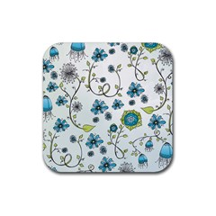 Blue Whimsical Flowers  On Blue Drink Coasters 4 Pack (square) by Zandiepants