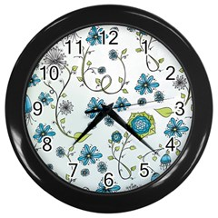 Blue Whimsical Flowers  On Blue Wall Clock (black) by Zandiepants