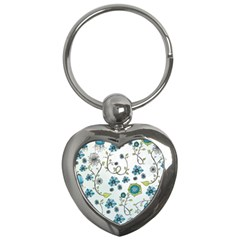 Blue Whimsical Flowers  On Blue Key Chain (heart) by Zandiepants
