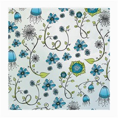 Blue Whimsical Flowers  On Blue Glasses Cloth (medium) by Zandiepants