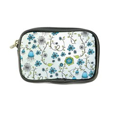 Blue Whimsical Flowers  on blue Coin Purse by Zandiepants