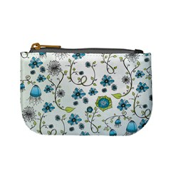 Blue Whimsical Flowers  On Blue Coin Change Purse by Zandiepants