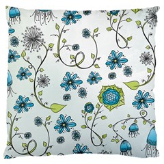Blue Whimsical Flowers  On Blue Large Cushion Case (two Sided)  by Zandiepants