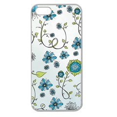 Blue Whimsical Flowers  On Blue Apple Seamless Iphone 5 Case (clear) by Zandiepants