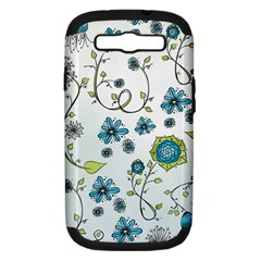 Blue Whimsical Flowers  On Blue Samsung Galaxy S Iii Hardshell Case (pc+silicone) by Zandiepants
