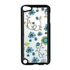Blue Whimsical Flowers  On Blue Apple Ipod Touch 5 Case (black) by Zandiepants