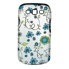Blue Whimsical Flowers  On Blue Samsung Galaxy S Iii Classic Hardshell Case (pc+silicone) by Zandiepants