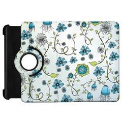 Blue Whimsical Flowers  On Blue Kindle Fire Hd 7  (1st Gen) Flip 360 Case by Zandiepants