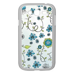 Blue Whimsical Flowers  On Blue Samsung Galaxy Grand Duos I9082 Case (white) by Zandiepants
