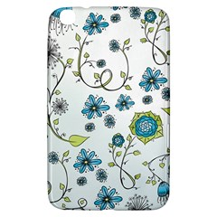Blue Whimsical Flowers  On Blue Samsung Galaxy Tab 3 (8 ) T3100 Hardshell Case  by Zandiepants