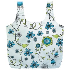 Blue Whimsical Flowers  On Blue Reusable Bag (xl) by Zandiepants