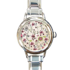 Pink Whimsical Flowers On Beige Round Italian Charm Watch by Zandiepants