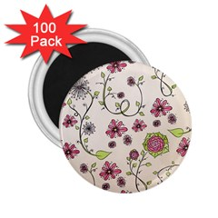 Pink Whimsical Flowers On Beige 2 25  Button Magnet (100 Pack) by Zandiepants