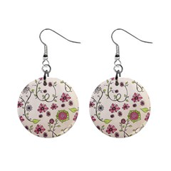Pink Whimsical flowers on beige Mini Button Earrings