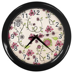 Pink Whimsical Flowers On Beige Wall Clock (black) by Zandiepants