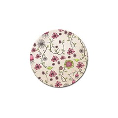 Pink Whimsical flowers on beige Golf Ball Marker by Zandiepants