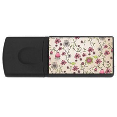 Pink Whimsical Flowers On Beige 4gb Usb Flash Drive (rectangle) by Zandiepants