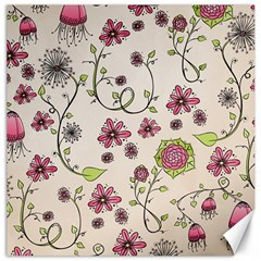 Pink Whimsical Flowers On Beige Canvas 12  X 12  (unframed) by Zandiepants