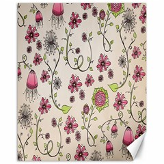 Pink Whimsical Flowers On Beige Canvas 16  X 20  (unframed) by Zandiepants