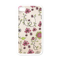 Pink Whimsical Flowers On Beige Apple Iphone 4 Case (white) by Zandiepants