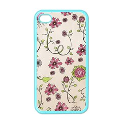 Pink Whimsical Flowers On Beige Apple Iphone 4 Case (color) by Zandiepants