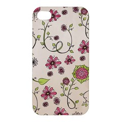Pink Whimsical flowers on beige Apple iPhone 4/4S Premium Hardshell Case by Zandiepants