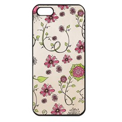 Pink Whimsical Flowers On Beige Apple Iphone 5 Seamless Case (black) by Zandiepants