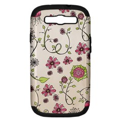 Pink Whimsical Flowers On Beige Samsung Galaxy S Iii Hardshell Case (pc+silicone) by Zandiepants