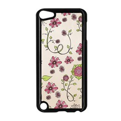 Pink Whimsical Flowers On Beige Apple Ipod Touch 5 Case (black) by Zandiepants