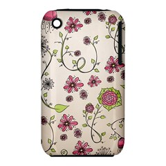 Pink Whimsical flowers on beige Apple iPhone 3G/3GS Hardshell Case (PC+Silicone) by Zandiepants