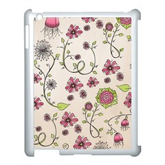 Pink Whimsical flowers on beige Apple iPad 3/4 Case (White) by Zandiepants