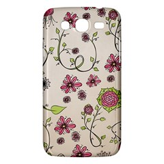 Pink Whimsical Flowers On Beige Samsung Galaxy Mega 5 8 I9152 Hardshell Case  by Zandiepants