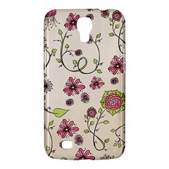 Pink Whimsical Flowers On Beige Samsung Galaxy Mega 6 3  I9200 Hardshell Case by Zandiepants
