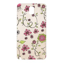 Pink Whimsical Flowers On Beige Samsung Galaxy Note 3 N9005 Hardshell Back Case by Zandiepants