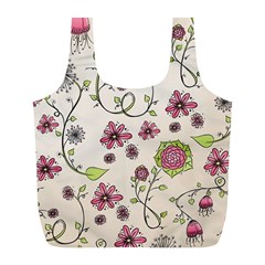 Pink Whimsical Flowers On Beige Reusable Bag (l) by Zandiepants