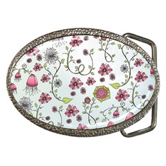 Pink Whimsical Flowers On Blue Belt Buckle (oval) by Zandiepants
