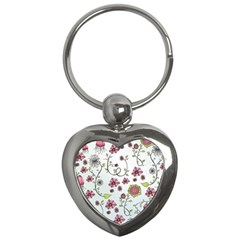 Pink Whimsical Flowers On Blue Key Chain (heart) by Zandiepants