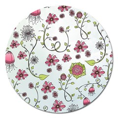 Pink Whimsical Flowers On Blue Magnet 5  (round) by Zandiepants