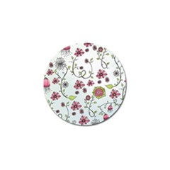 Pink Whimsical Flowers On Blue Golf Ball Marker 4 Pack by Zandiepants