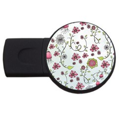 Pink Whimsical Flowers On Blue 4gb Usb Flash Drive (round) by Zandiepants